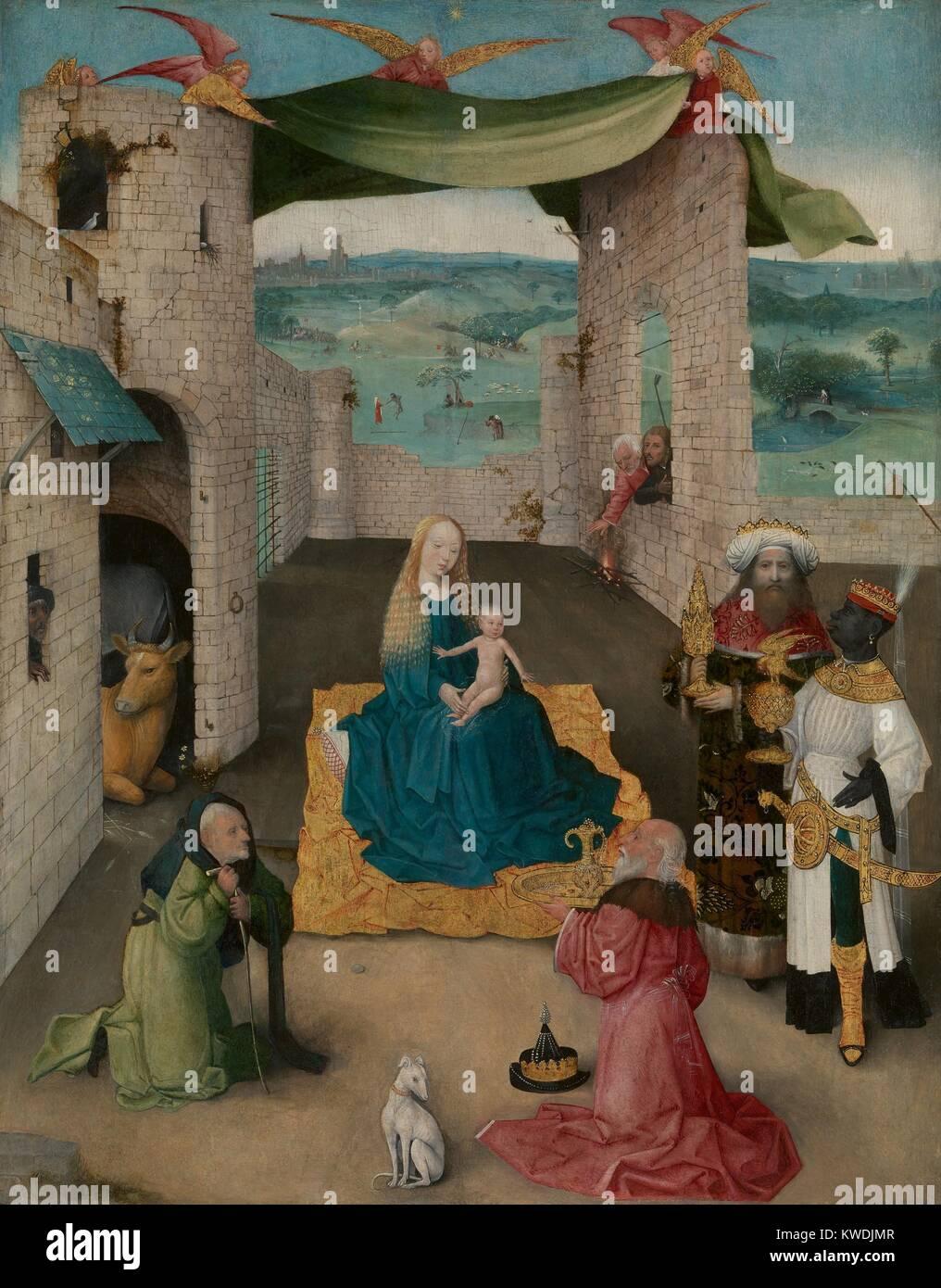 L'Adoration des mages de Jérôme Bosch, 1475, la peinture de la Renaissance du Nord, Russisch. L'Adoration Photo Stock