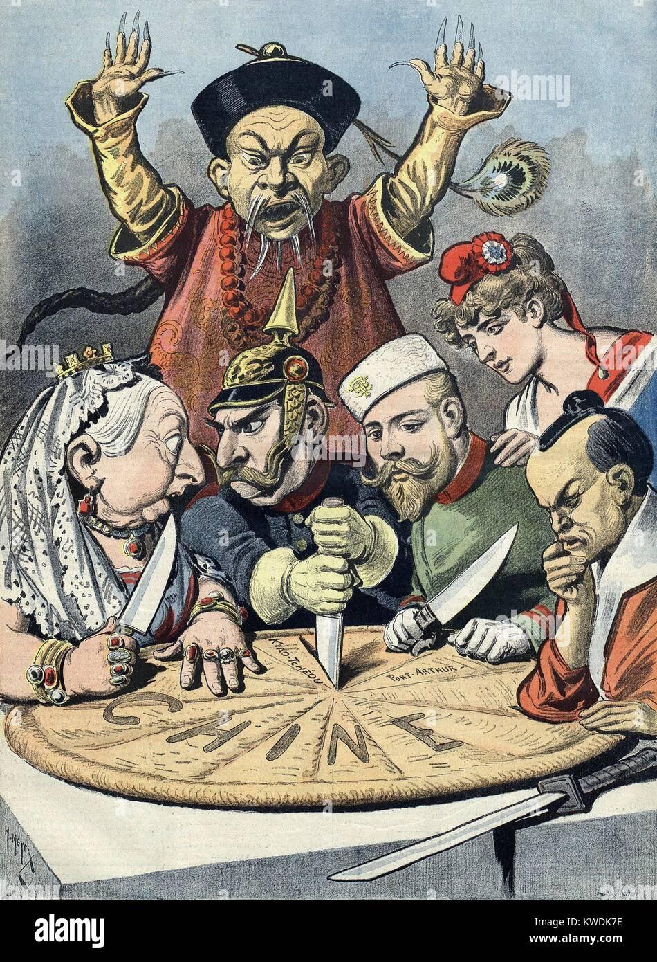 1898 Politique Française caricature montre les Européens de morceler la Chine. Derrière eux un agité Photo Stock