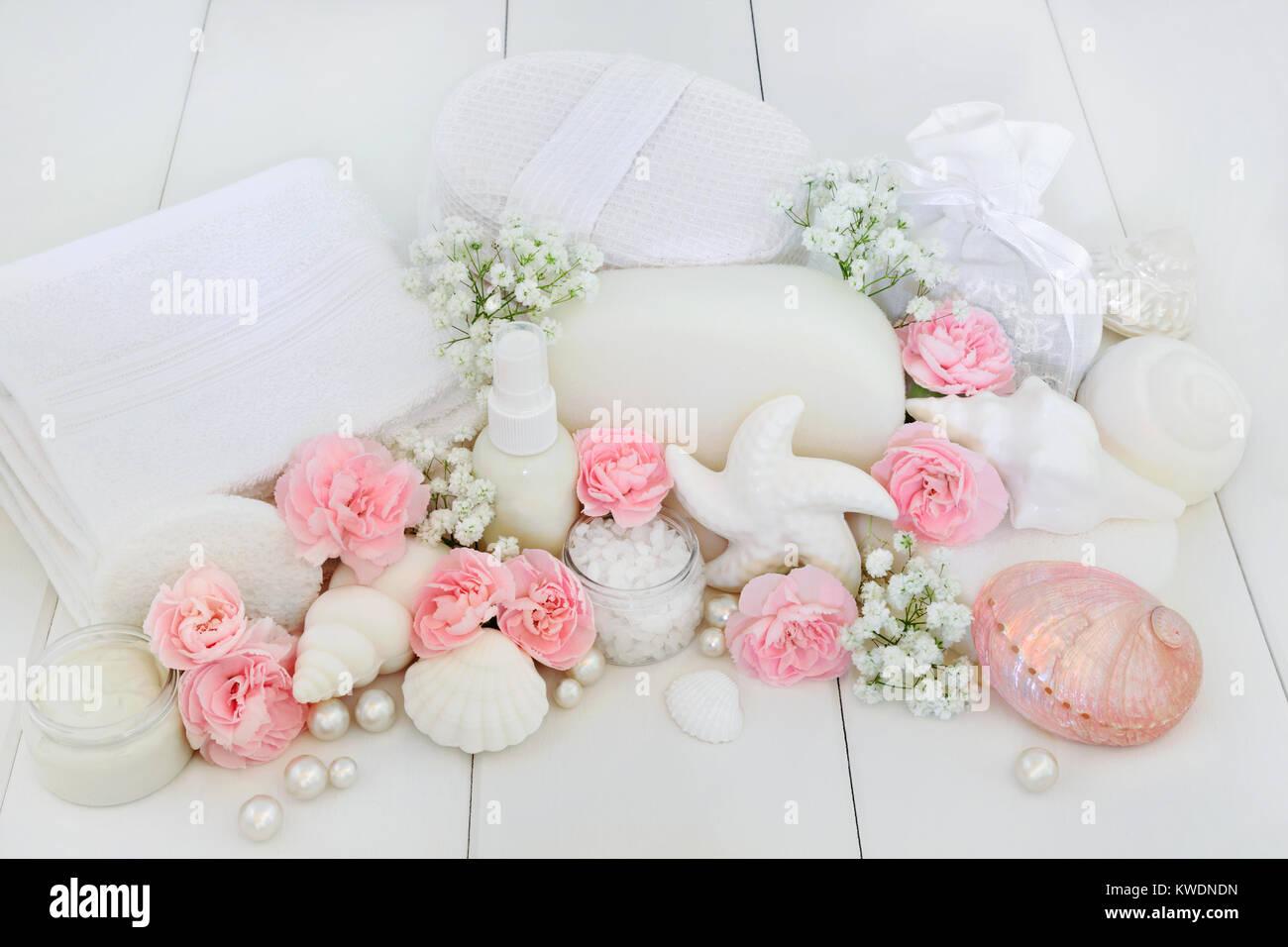Salle De Bain Minerale ~ Salle De Bains Spa Et Beaut Produits Avec Oeillet Rose Et Fleurs De