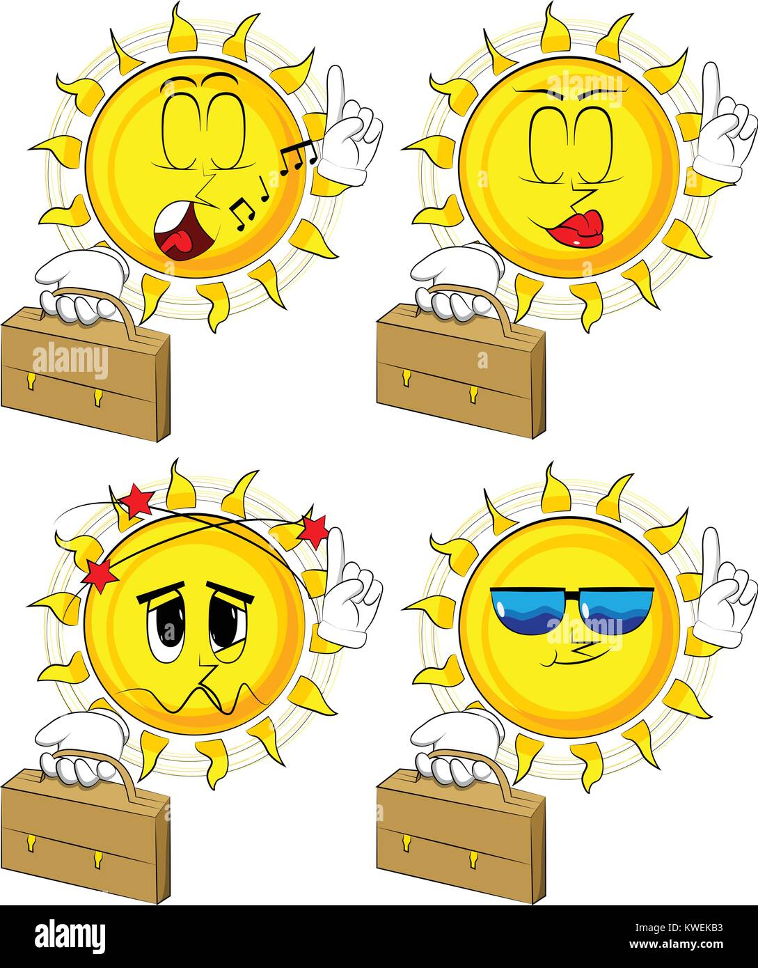 Sun Cartoon holding suitcase et de faire un point. Collection avec différentes expressions faciales. Vector set. Illustration de Vecteur