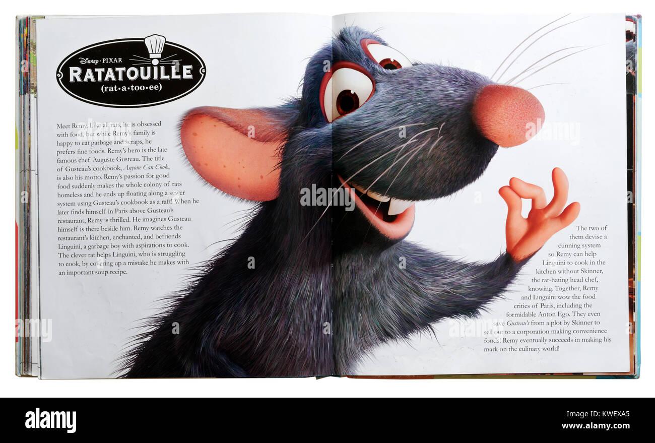 Caractère Pixar Remy le Rat de ratatouille le film Pixar dans un guide des personnages Photo Stock