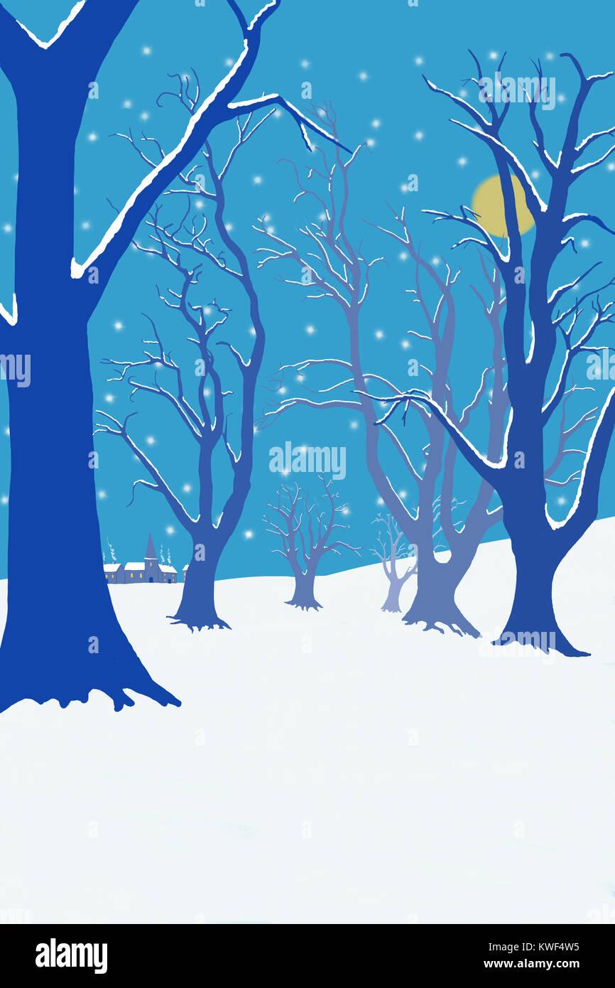 Illustration D Une Forêt D Hiver Avec La Neige Qui Tombe England