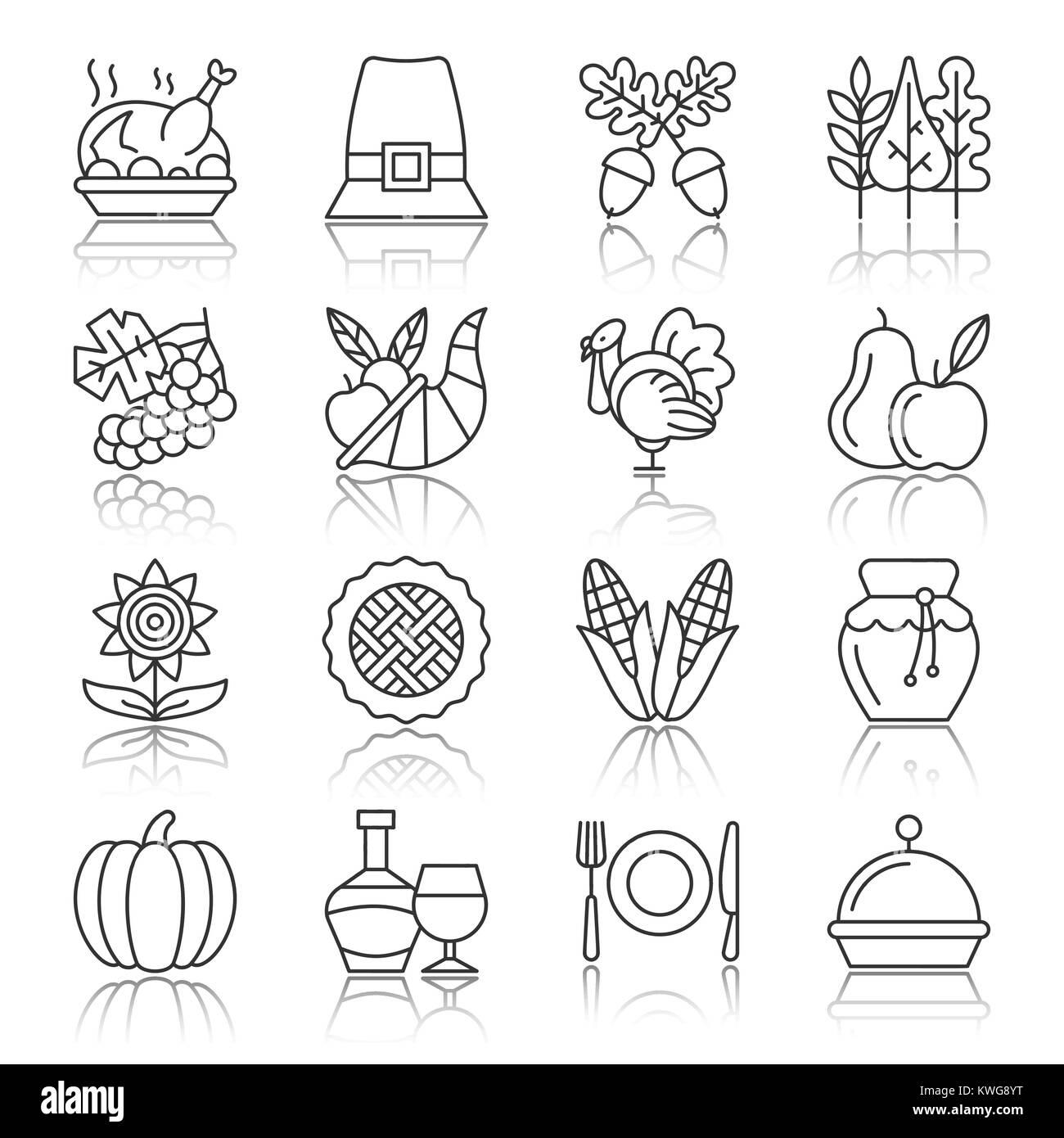 Thanksgiving Day journée noire fine line avec réflexion icon set vecteur de saison symbole linéaire isolé pack. Illustration de Vecteur