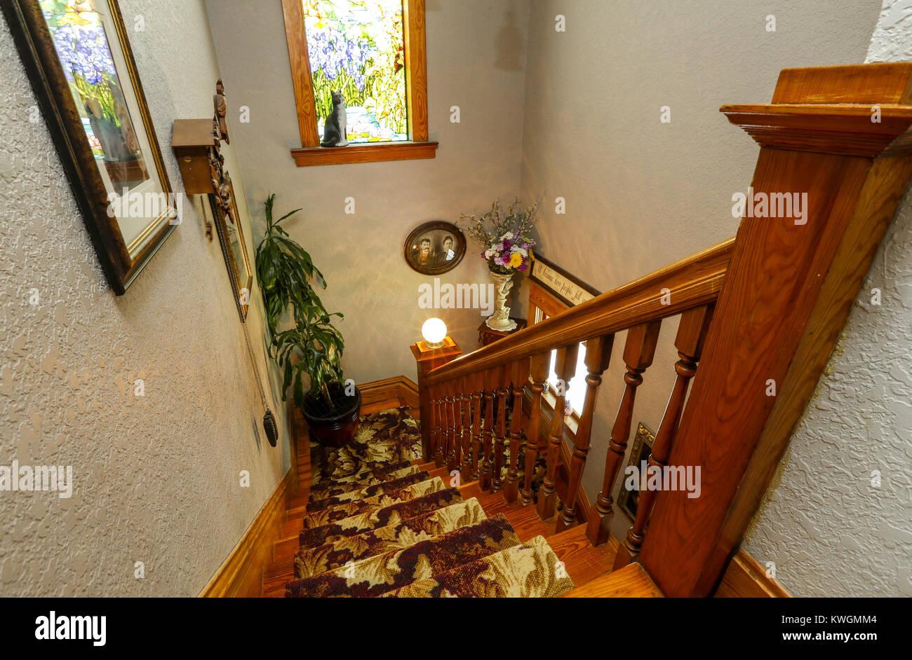 Escalier Dans La Maison davenport, iowa, États-unis. 2 août, 2016. l'escalier de la