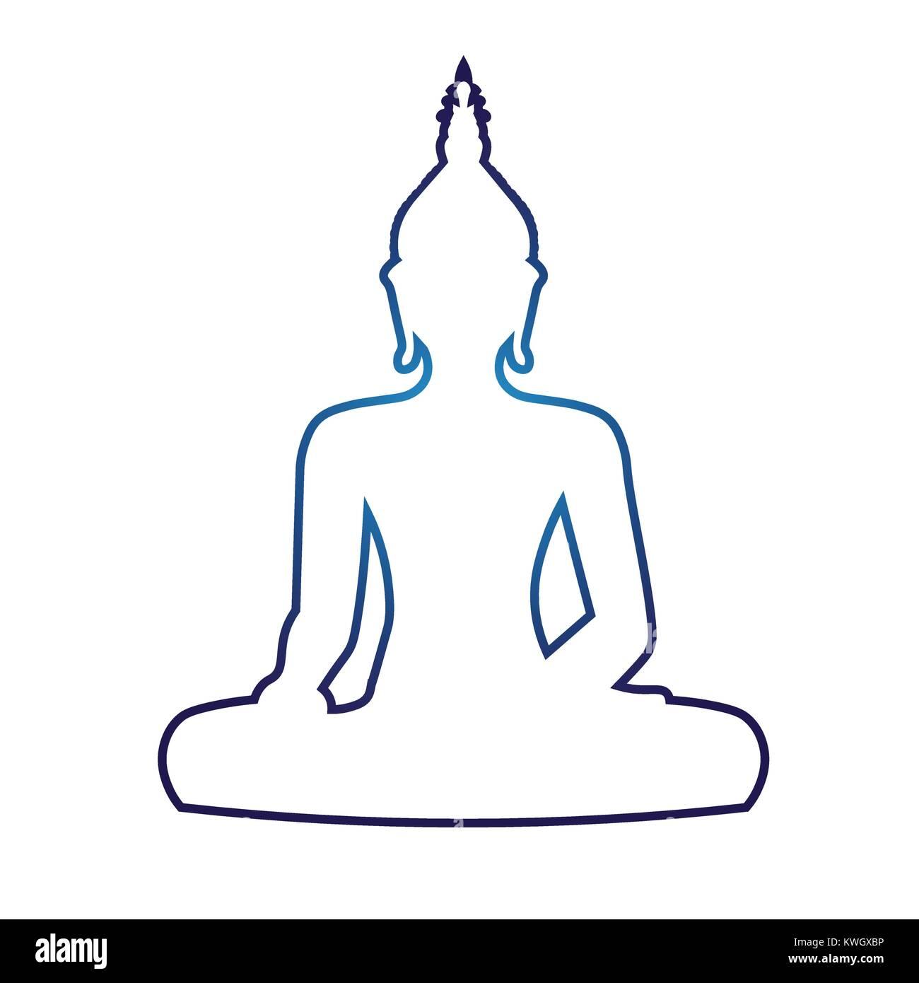 Silhouette De Bouddha Assis Sur Fond Blanc Vector Illustration