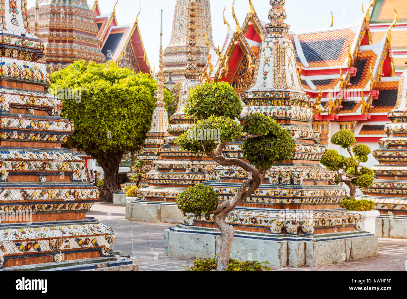 Wat Pho à Bangkok, monument de la Thaïlande Photo Stock