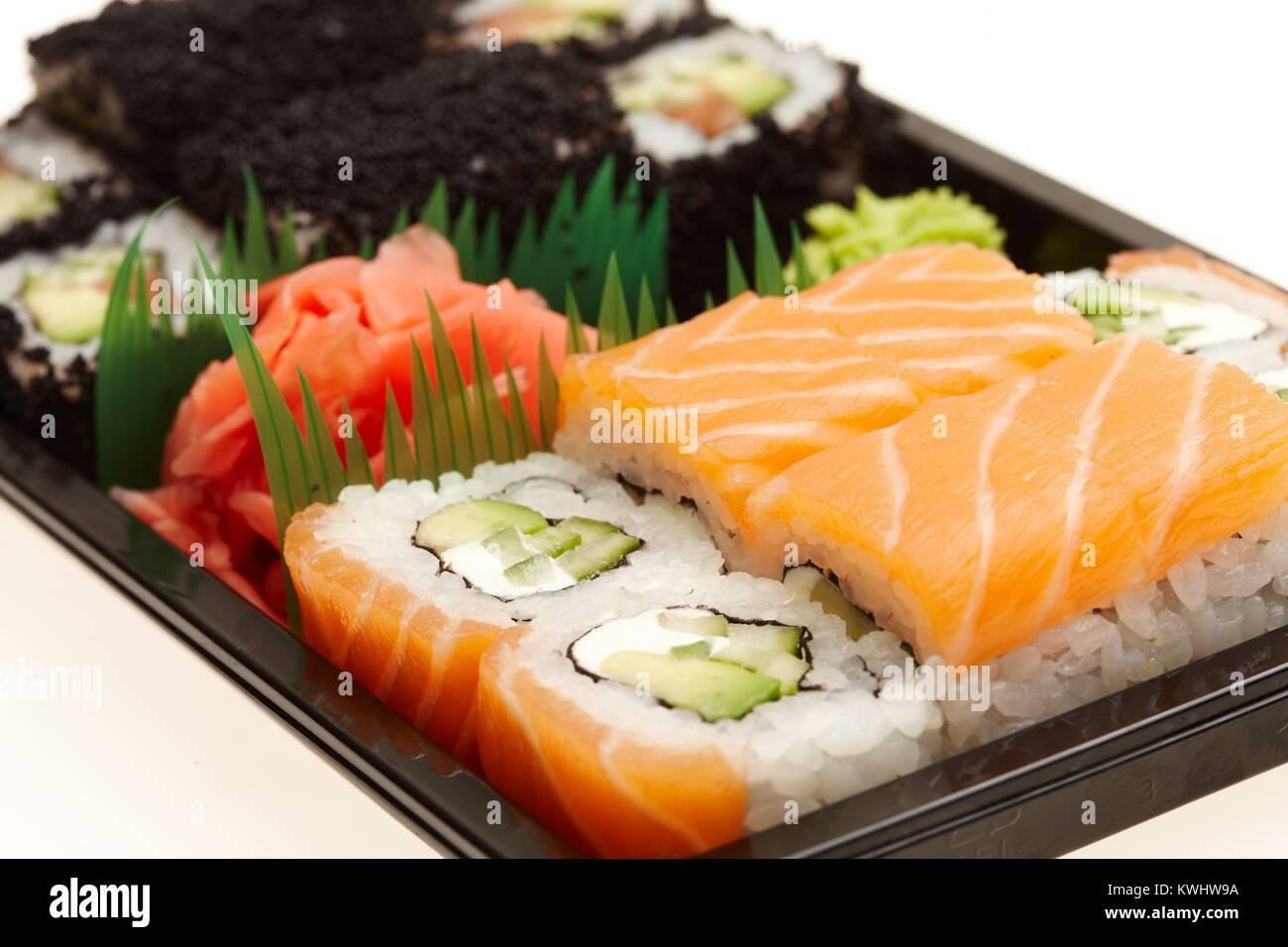 Rouleaux de sushi japonais. Photo Stock