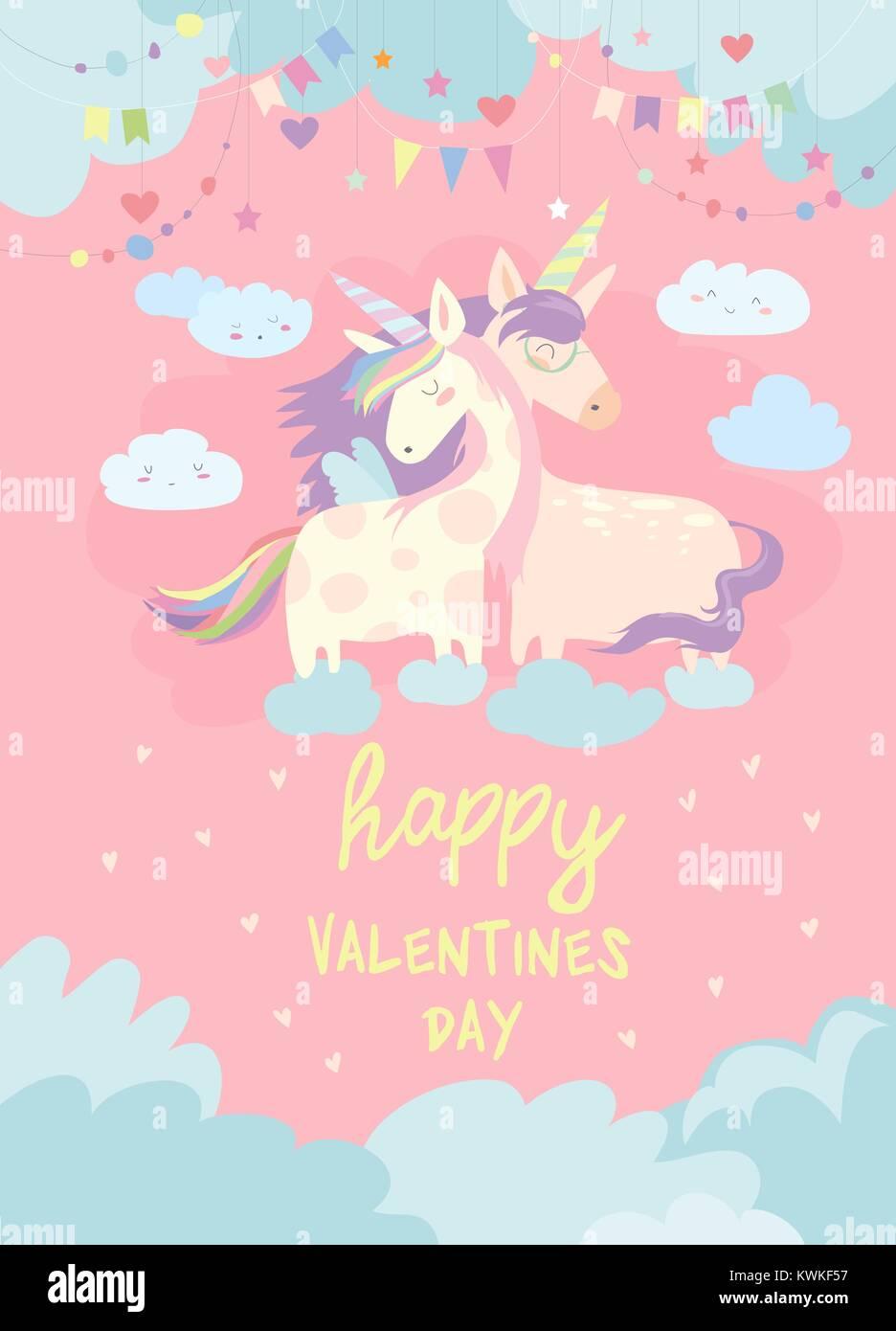 jolie carte avec fairy unicorns dans l'amour vecteurs et
