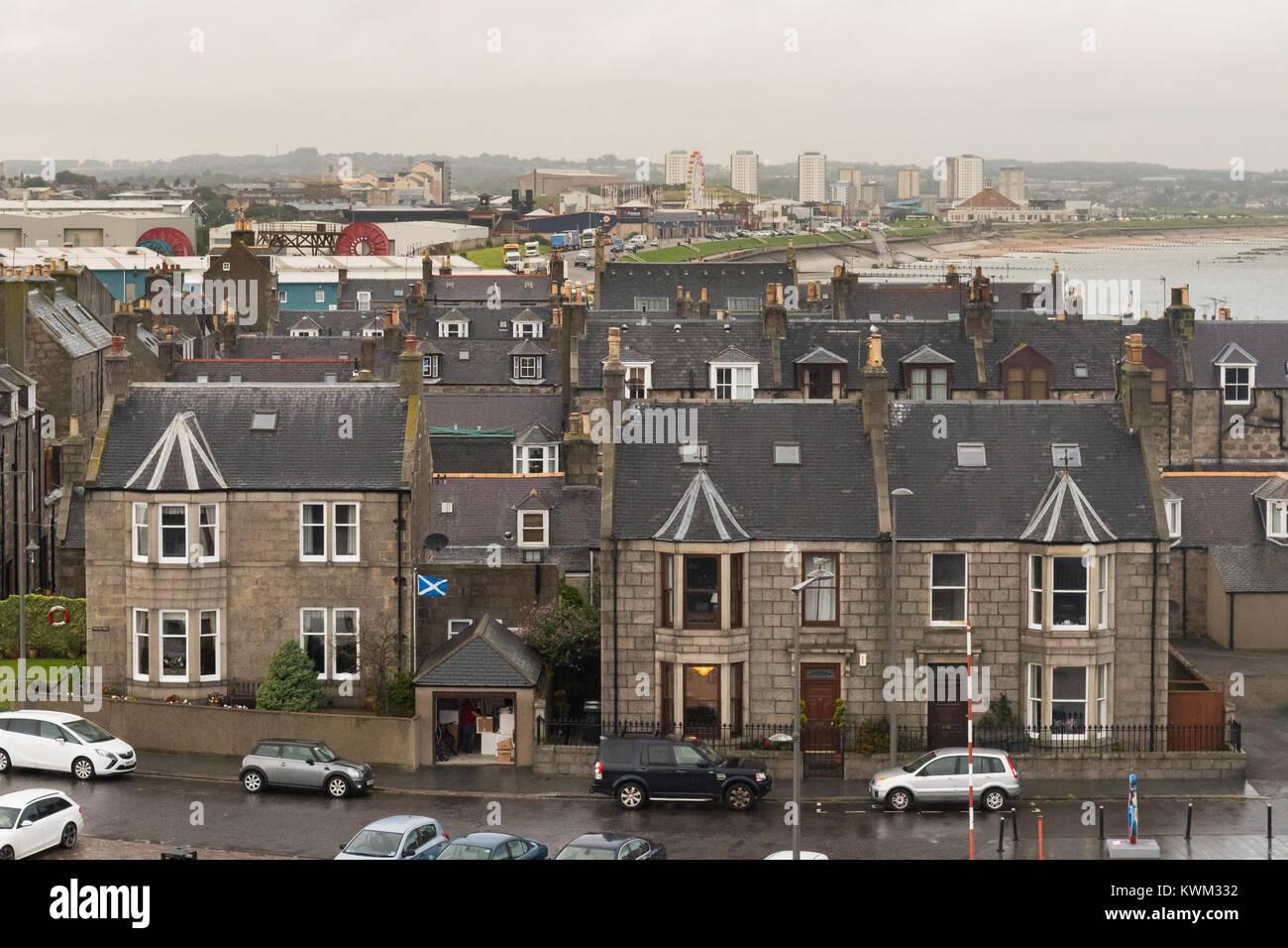 Maisons à Aberdeen dans le Quai Pocra Footdee Conservation Area, Aberdeen, Écosse, Royaume-Uni Photo Stock