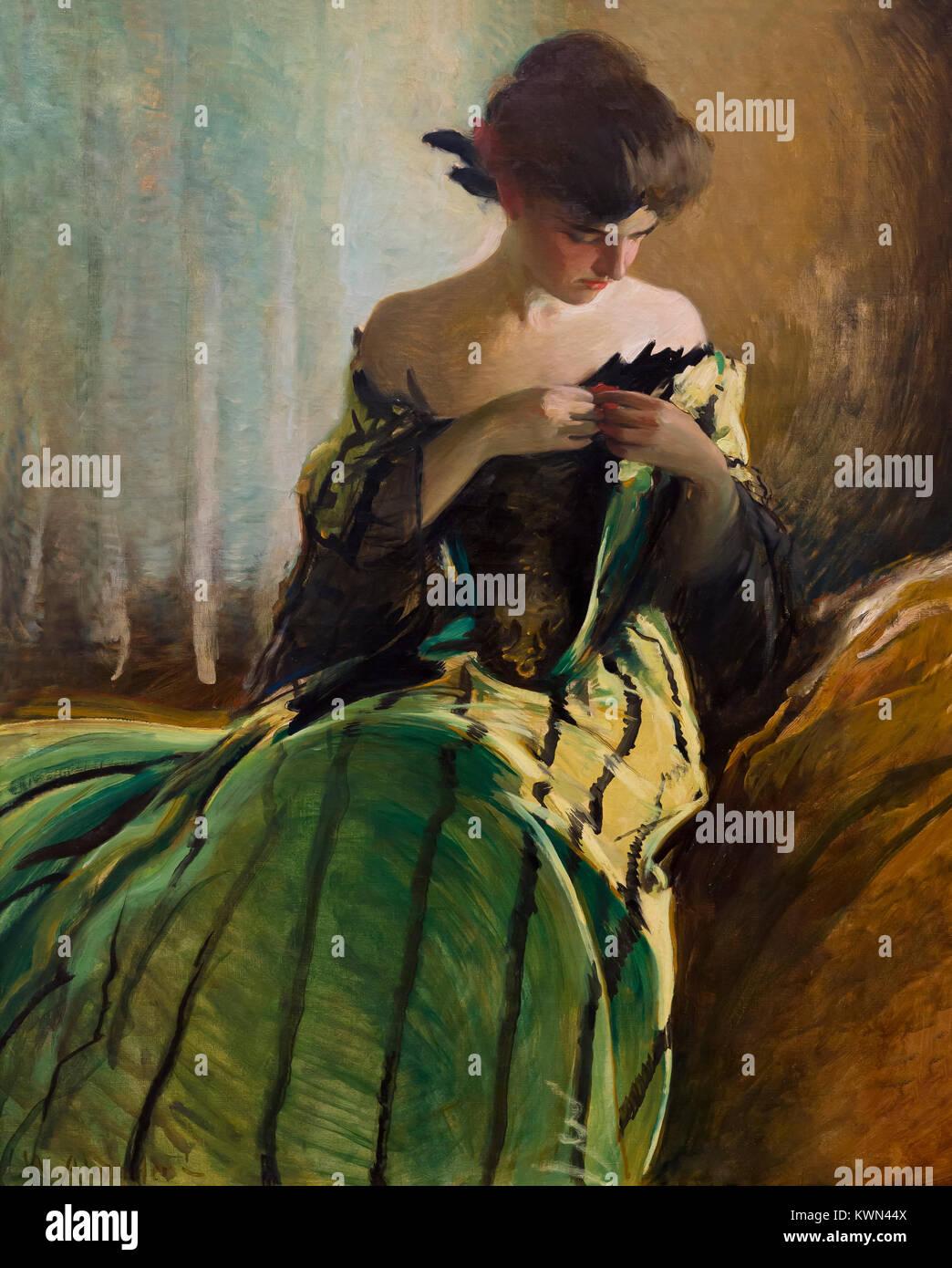 Étudier en noir et vert, John White Alexander, 1906, Metropolitan Museum of Art, Manhattan, New York City, Photo Stock