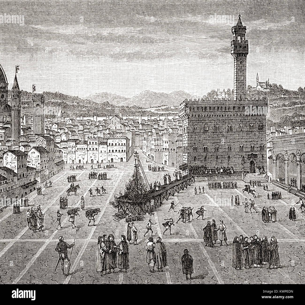 L'exécution de Girolamo Savonarola, Piazza della Signoria, l'Italie. Girolamo Savonarola aka Jérôme Photo Stock