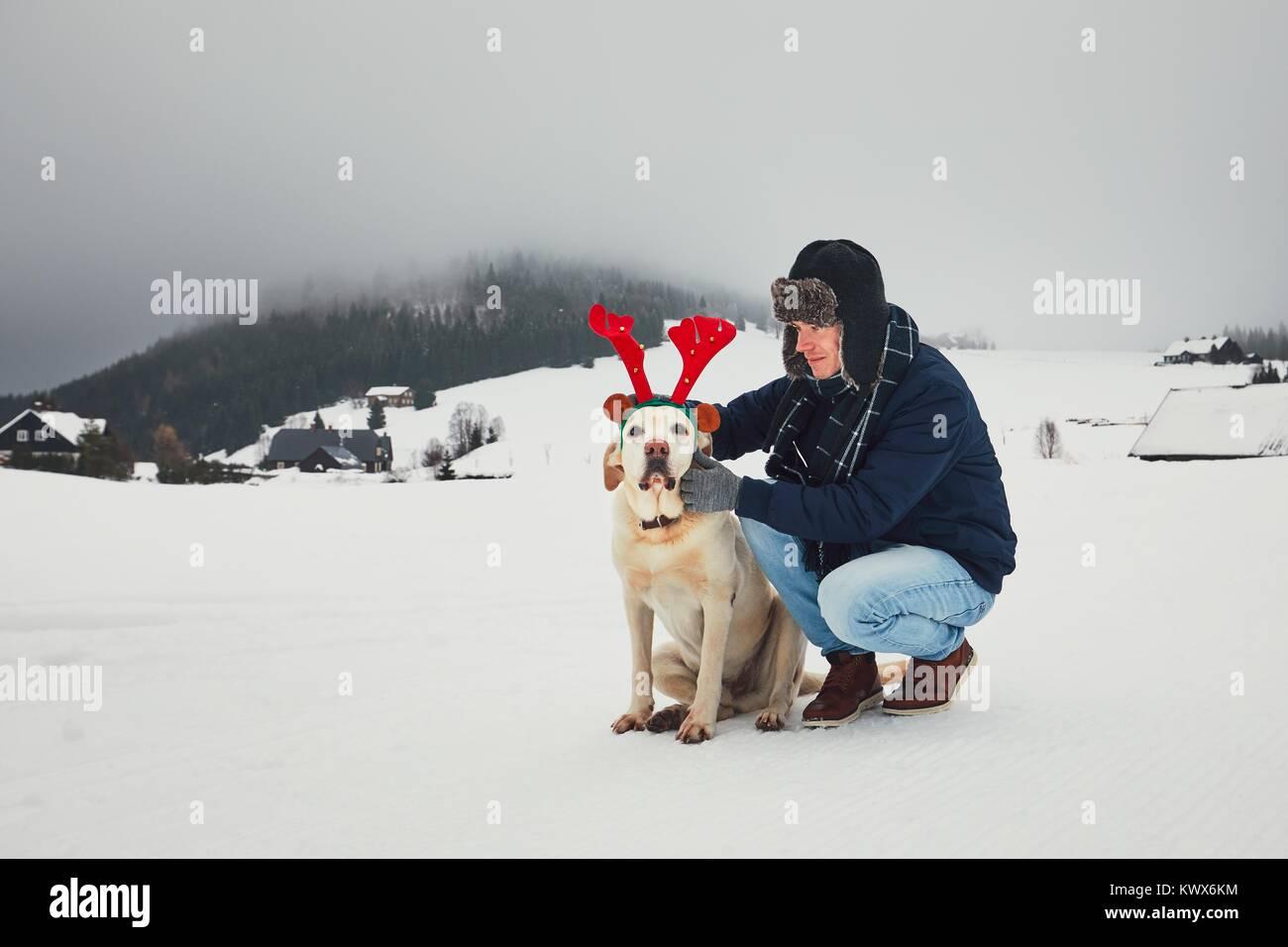 Drôle de marche avec chien dans le paysage enneigé. Labrador retriever porte faux bois de renne. La saison Photo Stock