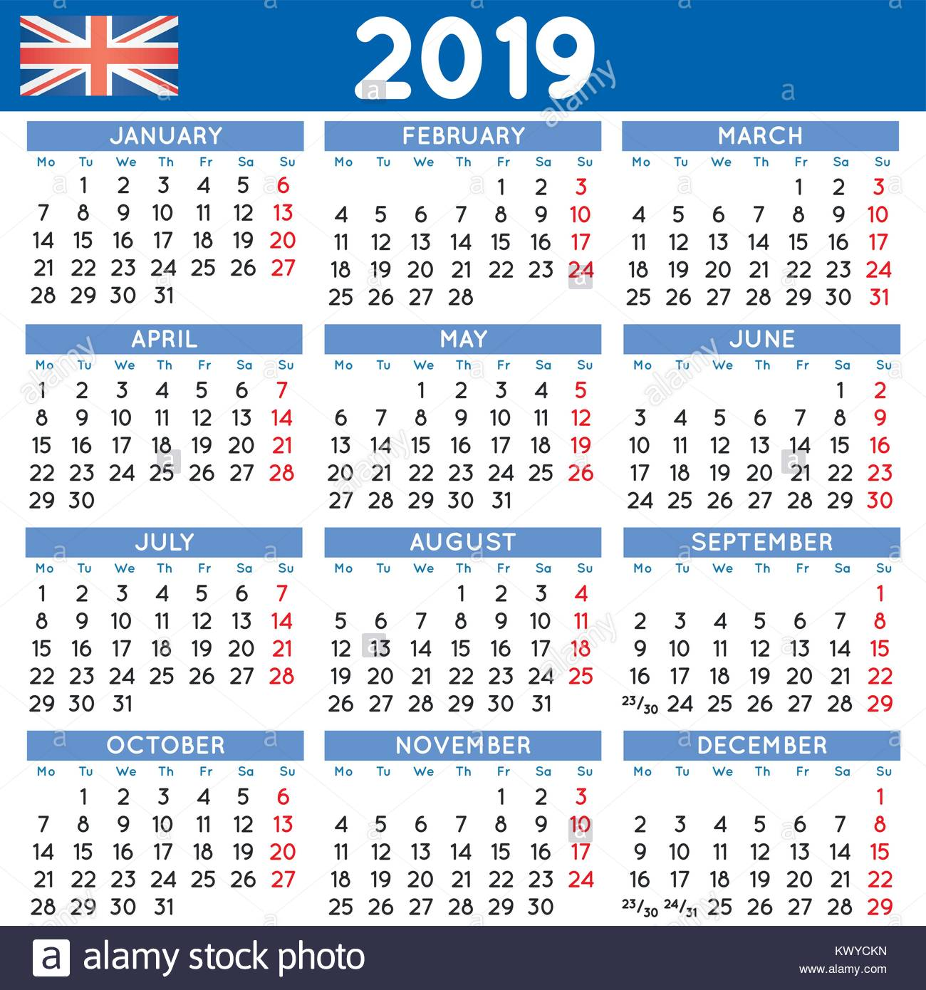 Calendrier 2019 En Semaine.2019 Calendrier Carre Elegant English Uk Annee 2019