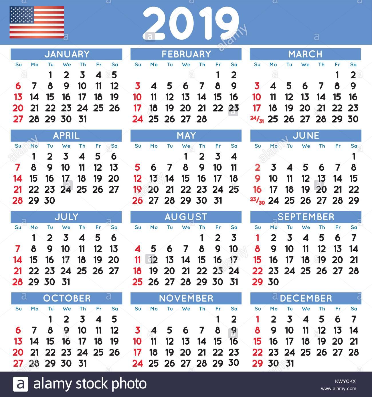 2019 Calendrier carré élégant english USA. Année 2019 ...