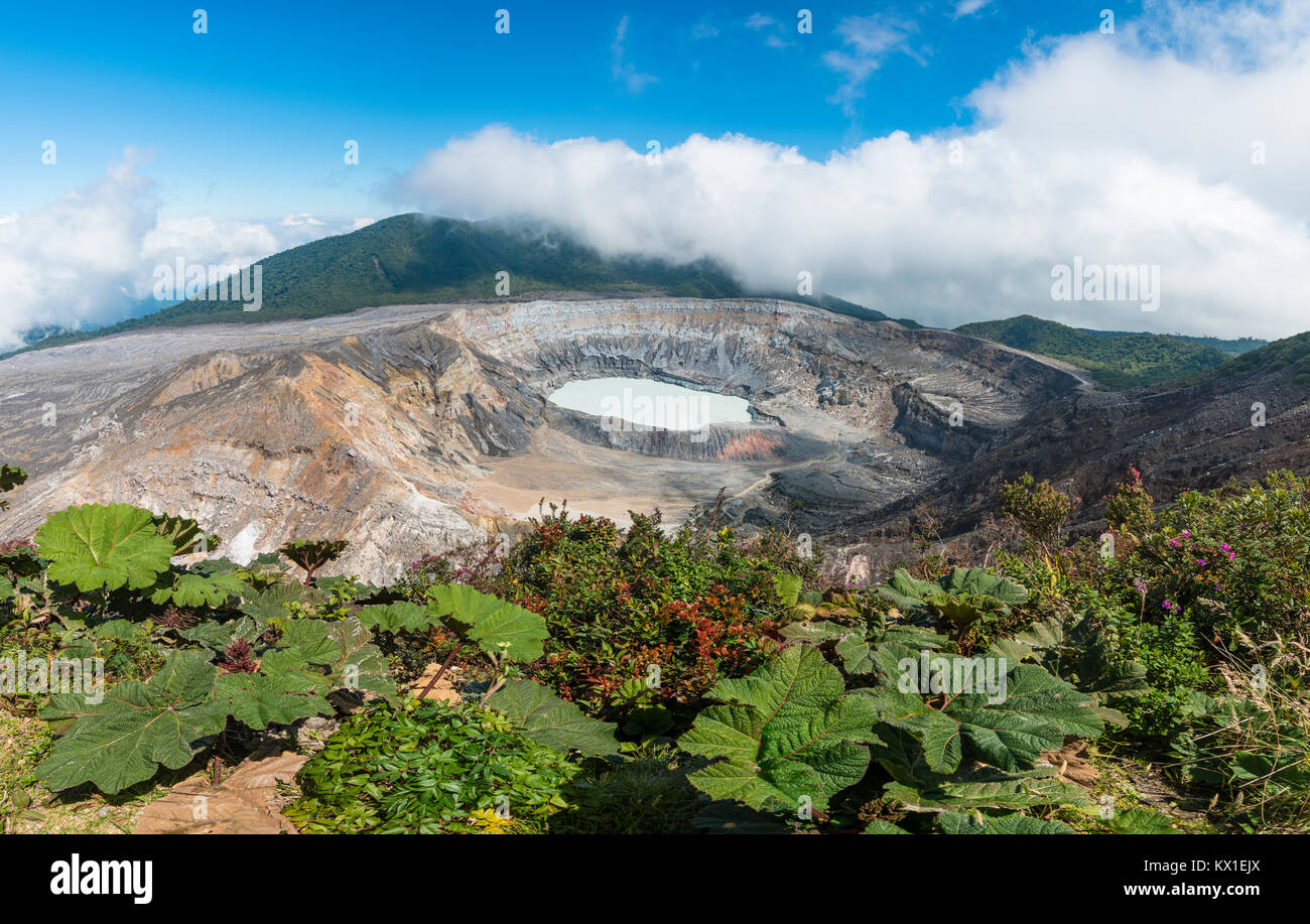 Lac de cratère avec Caldera, le volcan Poas, Parc National Volcan Poas, au Costa Rica Photo Stock
