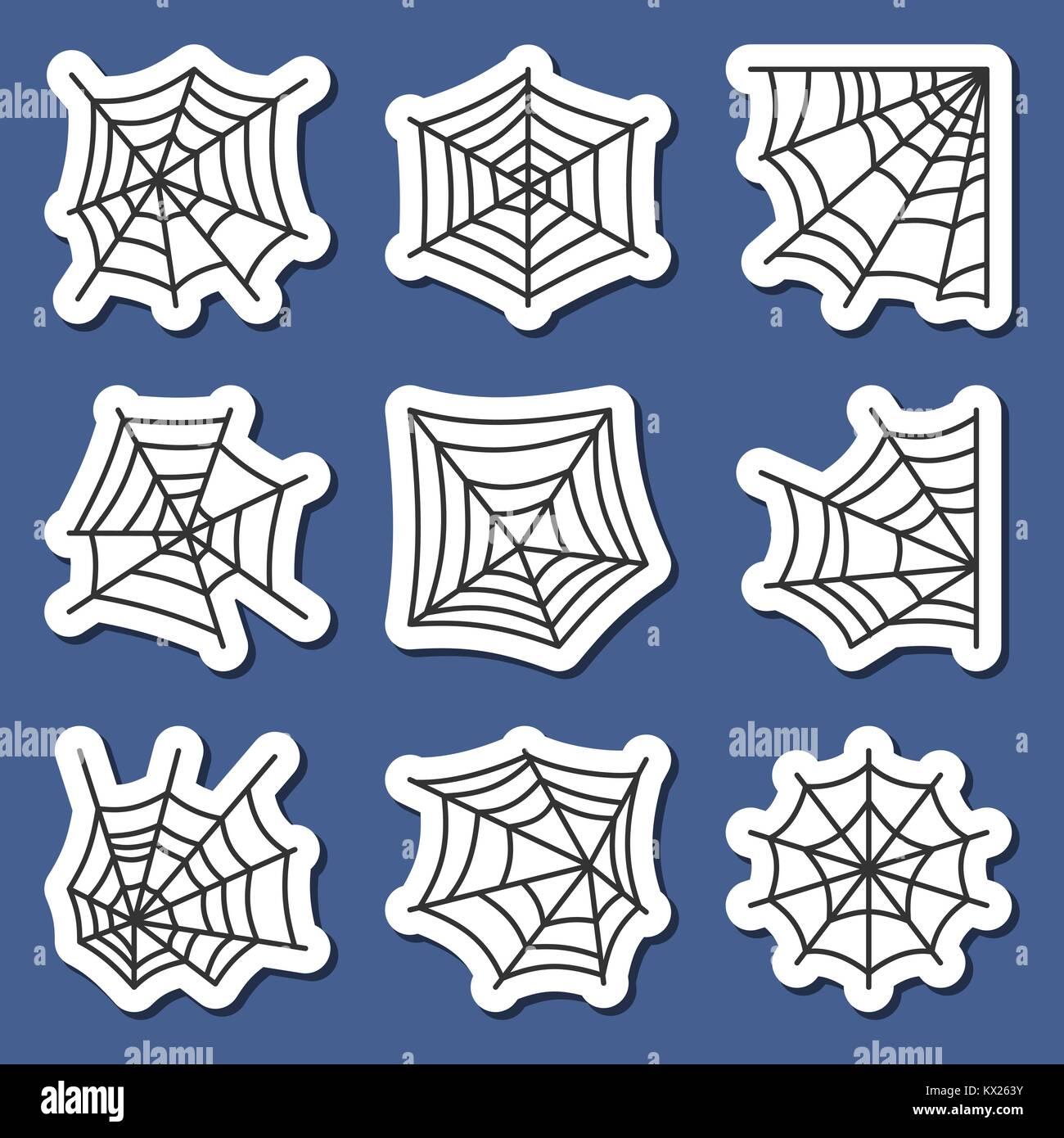 Spider web Pictogramme autocollant set. Noir sur blanc araignée araignée badges print, affiche, étiquette de l'élément Illustration de Vecteur
