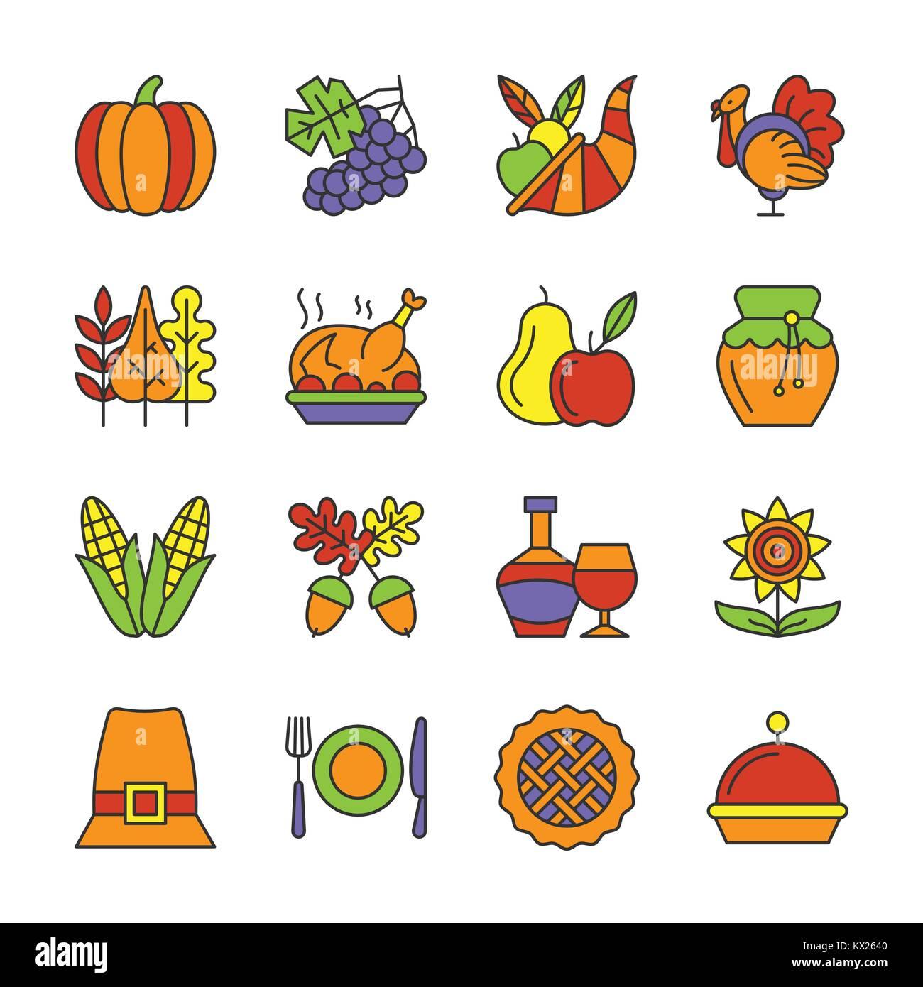 Jour de Thanksgiving fine ligne icon set. Symbole linéaire Vector Pack. Inscrivez-contour couleur de remplissage. Illustration de Vecteur