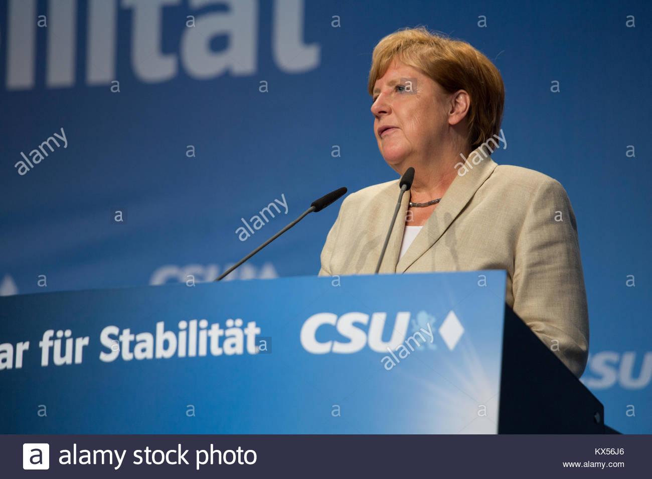 30 août 2017. Erlangen, Allemagne. Angel Merkel parle lors d'une réunion électorale organisée Photo Stock