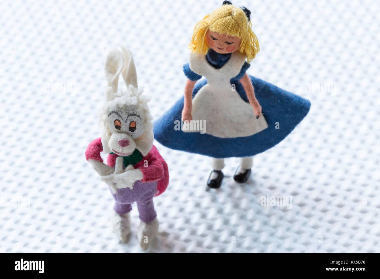 'Alice in Wonderland' Vintage personnages de contes Photo Stock