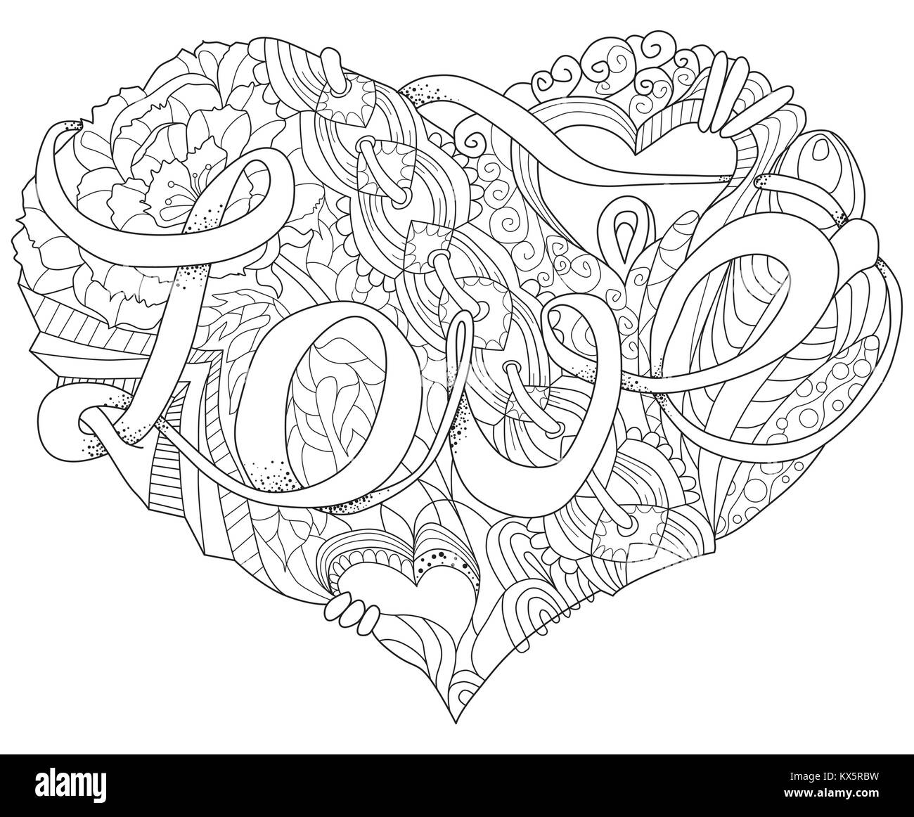 Livre De Coloriage Adultes Vecteur De Textures La Conception De L Art Peint A La Main Anti Stress Adultes Page A Colorier Dessine A La Main En Noir Et Blanc Illustration De Cœur Pour