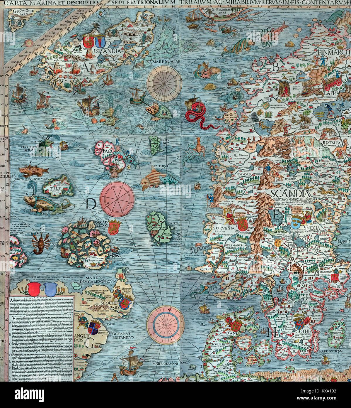 La carte de la Scandinavie Photo Stock