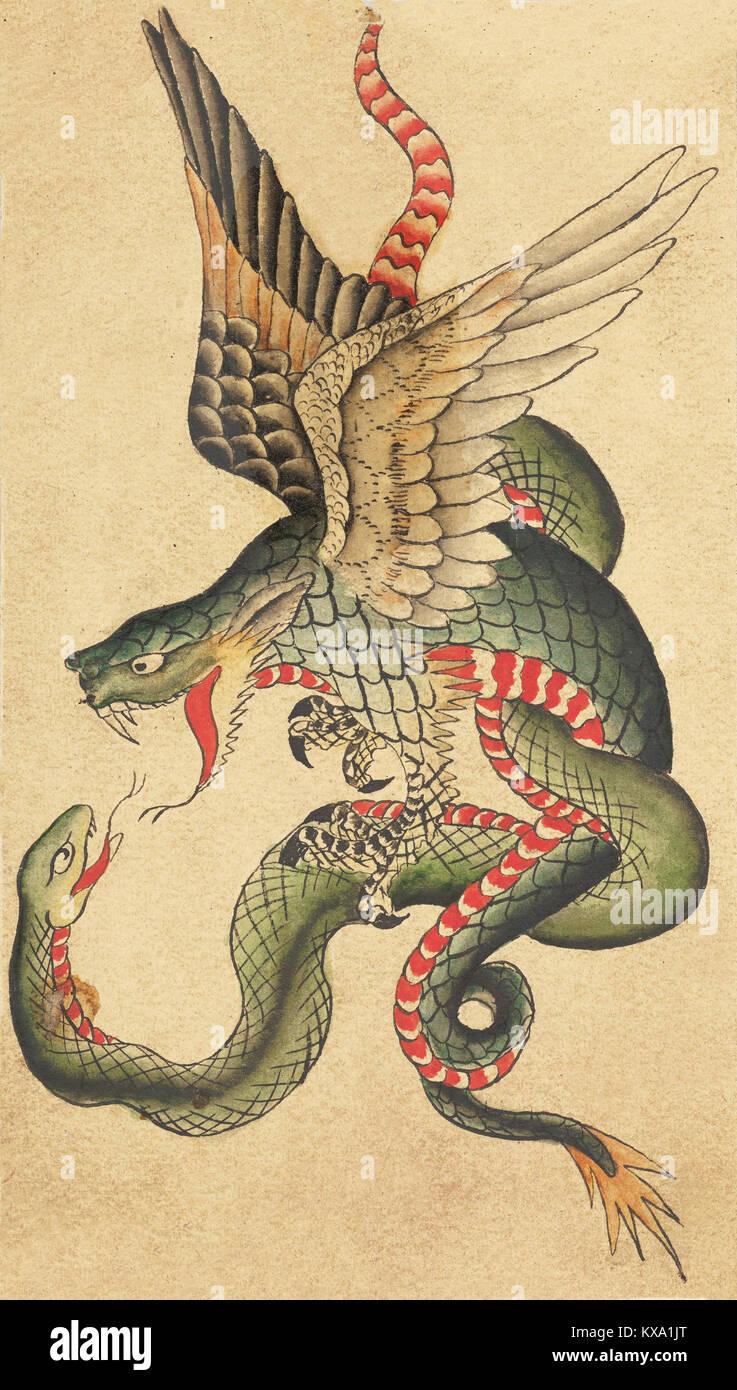 Dragon Et Serpent Tatouage Inspire Par Des Exemples Japonais Banque