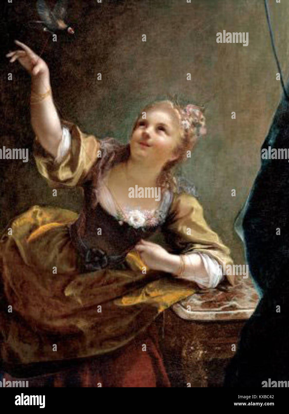 Jean Raoux - Jeune fille qui fait voler un oiseau 1717 Photo Stock