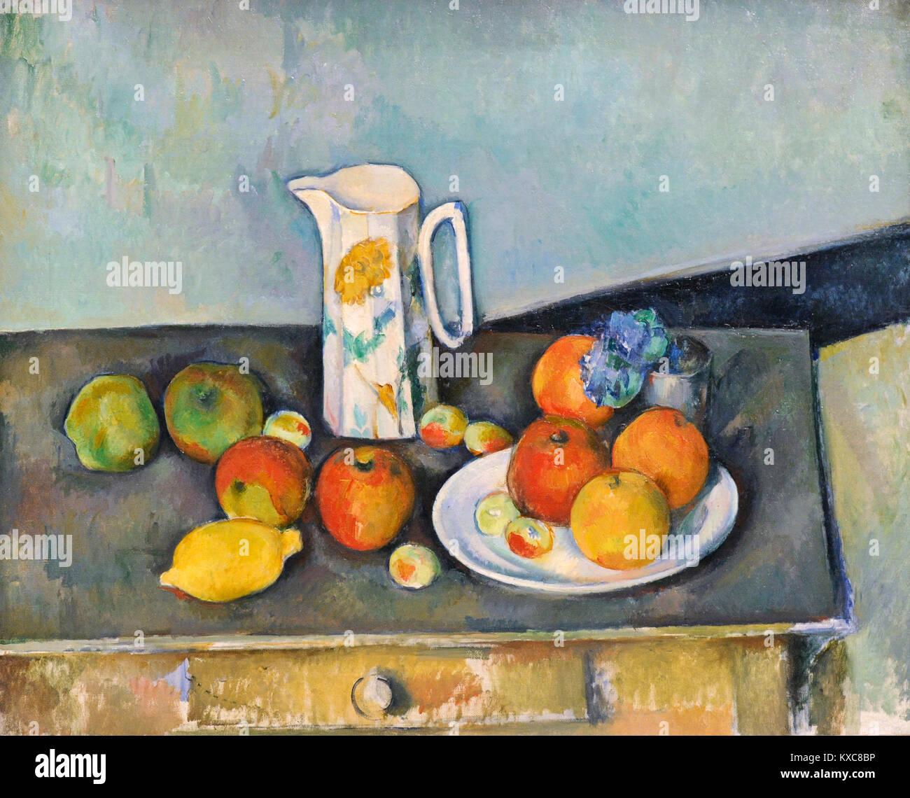 Paul Cézanne (1839-1906). Le peintre français. Still Life, ca.1890. Galerie nationale. Oslo. La Norvège. Photo Stock