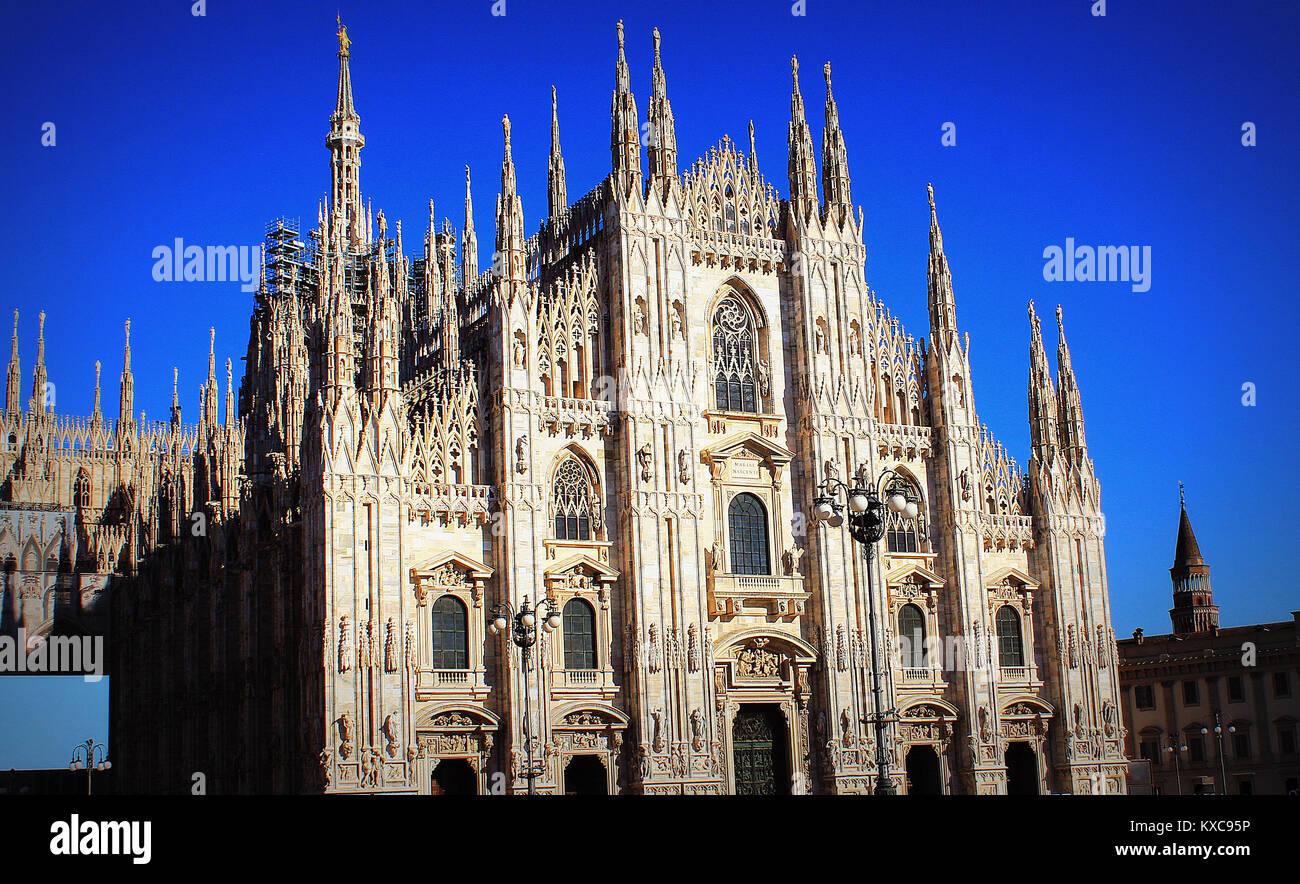 La cathédrale de Milan ou Duomo di Milano est l'église cathédrale gothique de Milan, Italie Photo Stock
