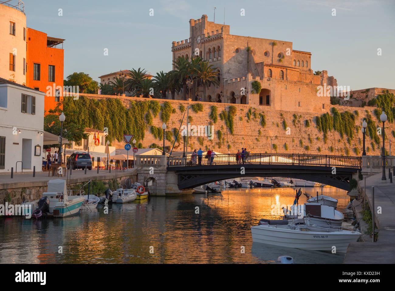 Vieux port historique de Ciutadella, Minorque, Espagne, Europe, Photo Stock