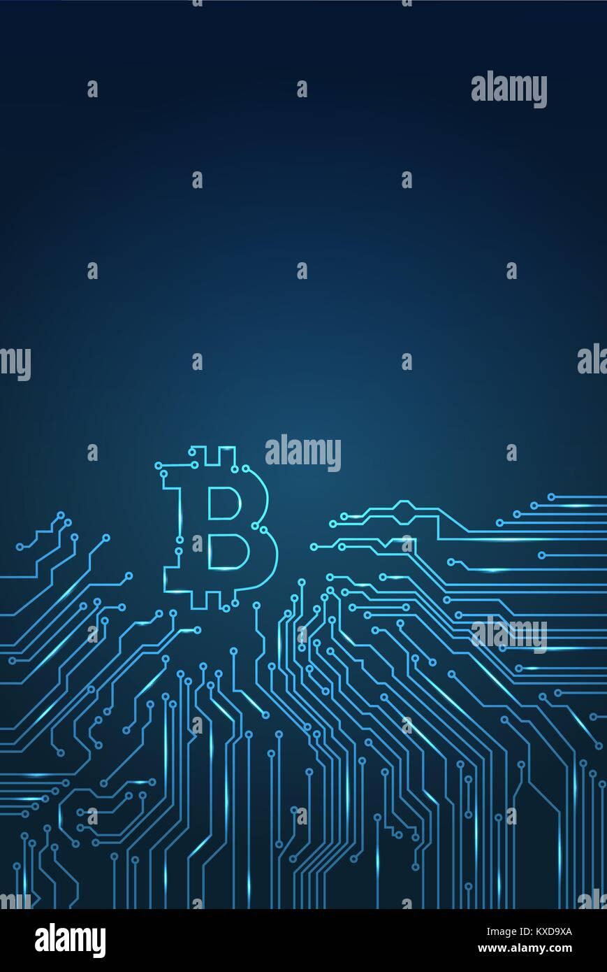 Bitcoin monnaie numérique crypto vecteur arrière-plan. Photo Stock