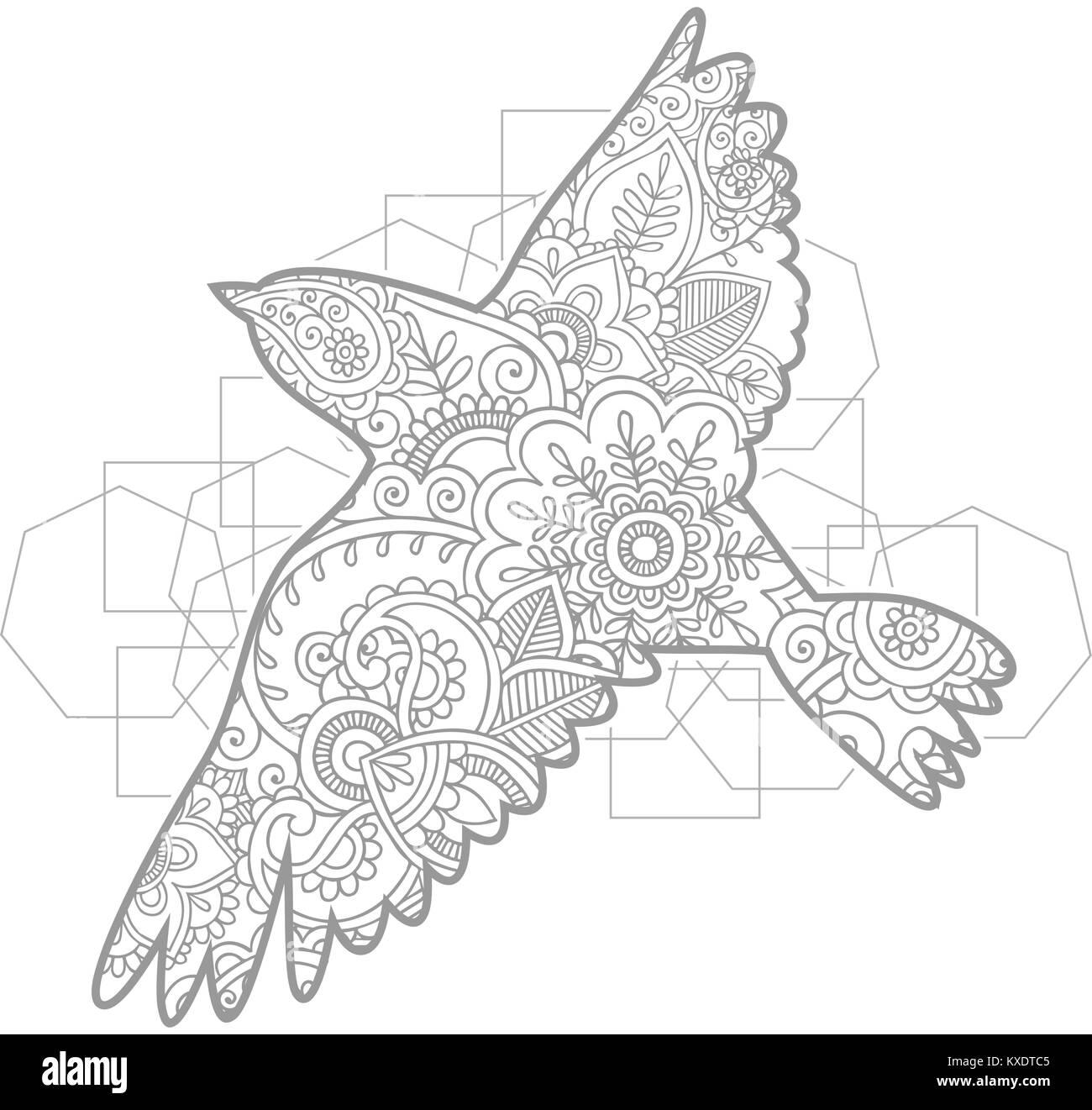 Coloriage Animaux Volants.Oiseau Volant Dessine A La Main Des Animaux Adultes Paisley Doodle