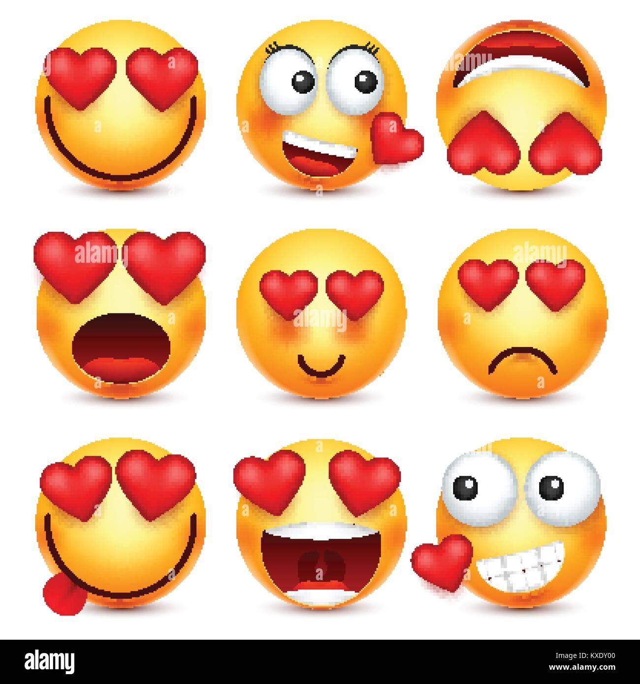 Valentines Day Smiley Avec Emoji Coeur L Amour Le 14 Fevrier Image Vectorielle Stock Alamy