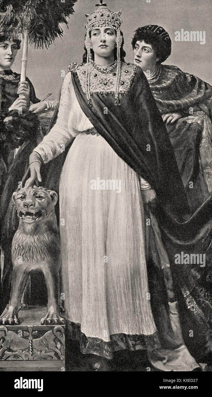 Théodora, c. 500 - 548, l'impératrice de l'Empire Romain, la peinture par Valentine Cameron Famille Photo Stock
