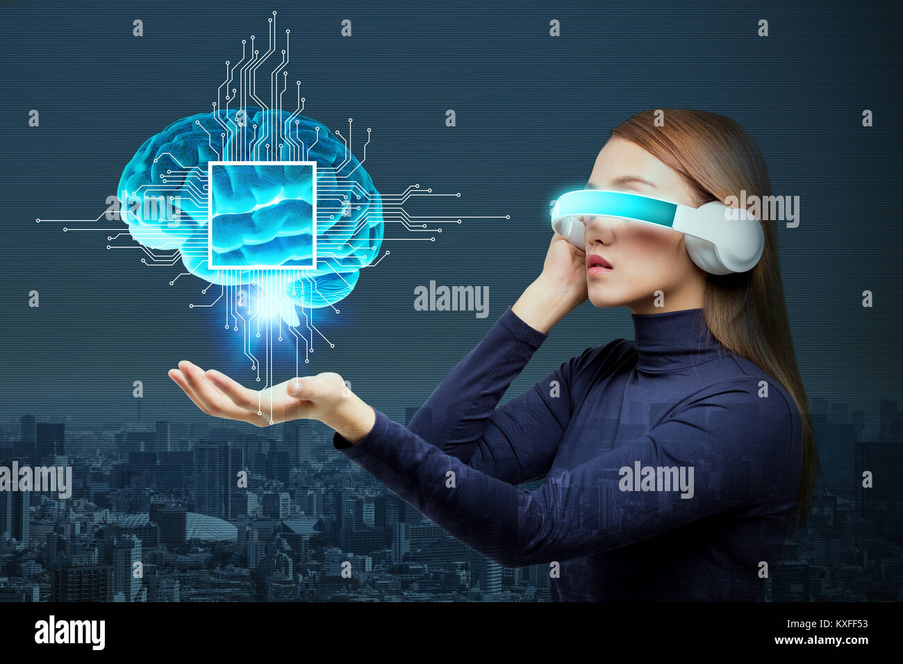 L'Intelligence Artificielle(IA) concept, rendu 3D, image abstraite Visual Photo Stock