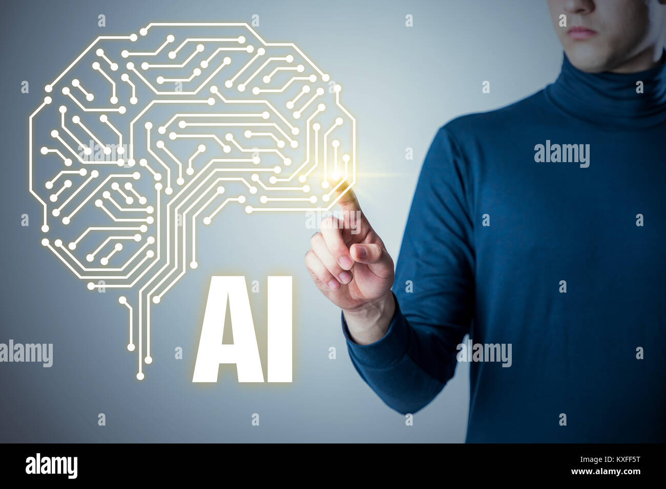 L'intelligence artificielle (IA) concept. Photo Stock