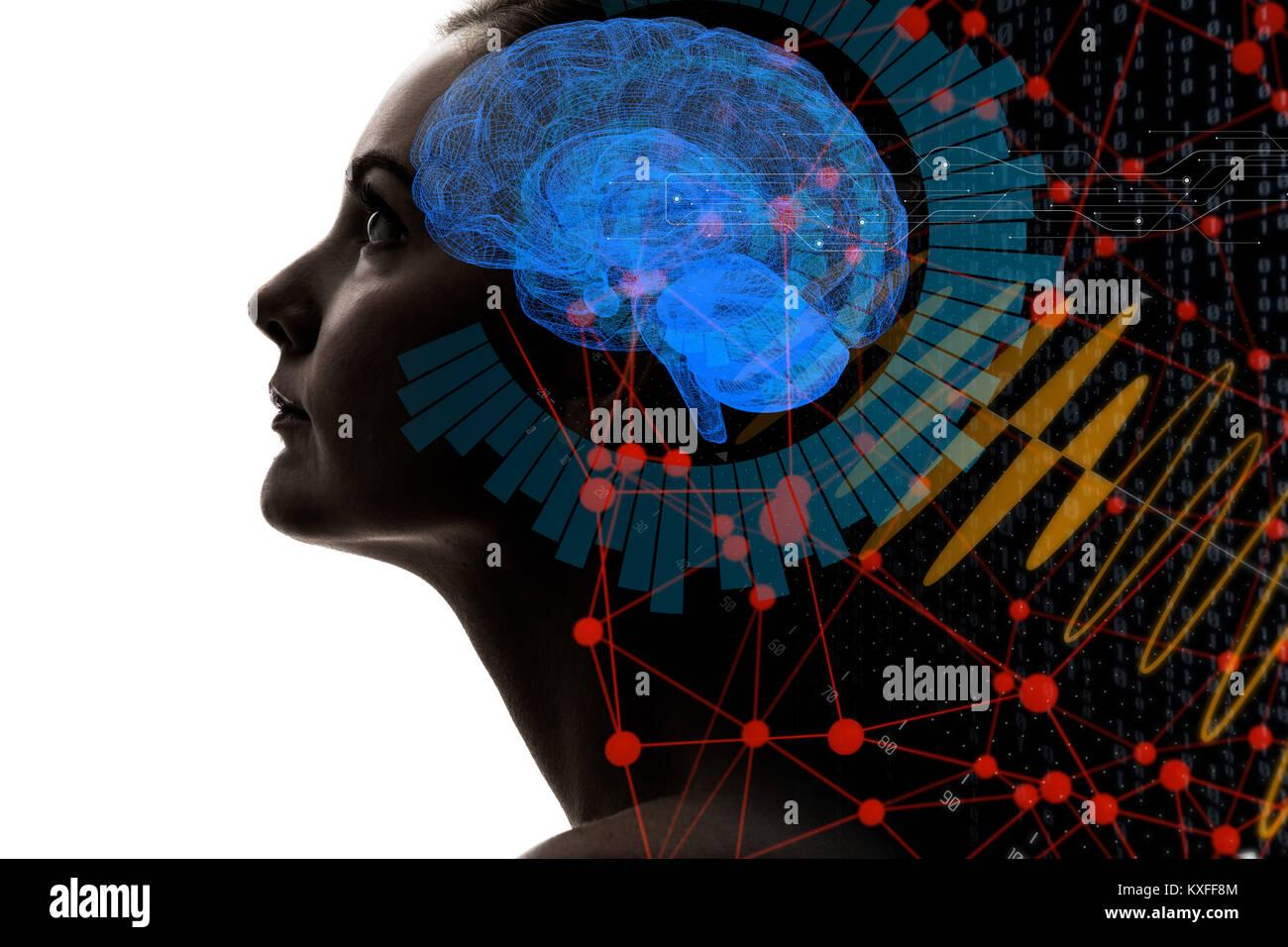 L'Intelligence Artificielle(IA) concept. Le rendu 3D. Banque D'Images
