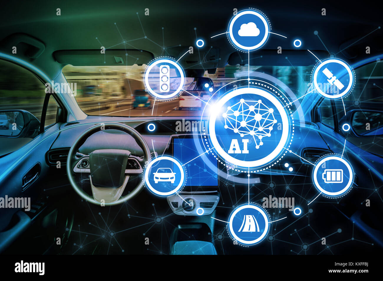 AI(l'intelligence artificielle et la technologie automobile. Voiture autonome. Photo Stock