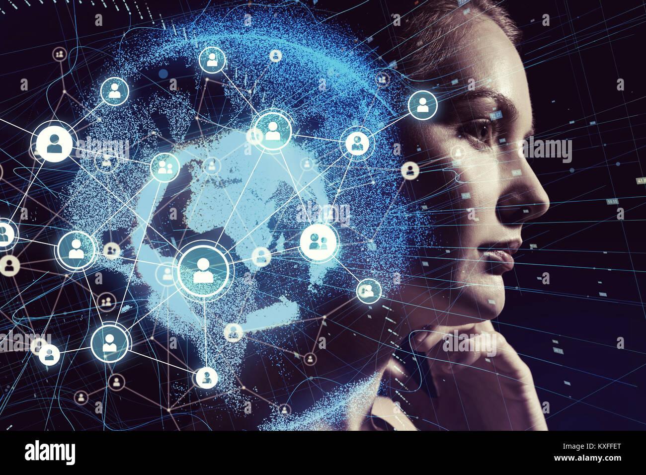 Réseau mondial de communication et de l'IA (Intelligence Artificielle) concept. Photo Stock