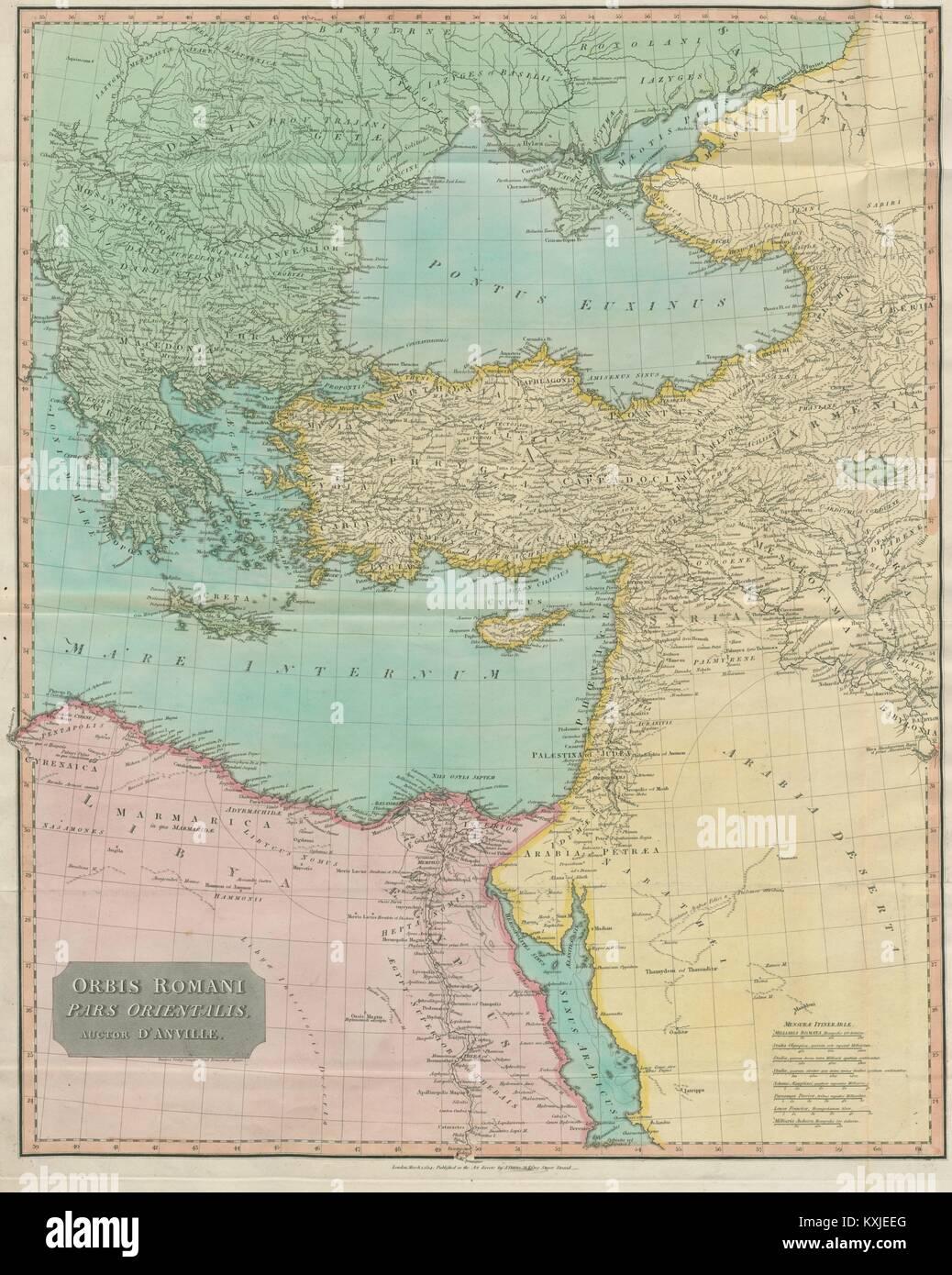 """'Orbis Romani pars orientalis"""". La partie orientale de l'Empire romain. La carte d'Anville, 1815 Photo Stock"""
