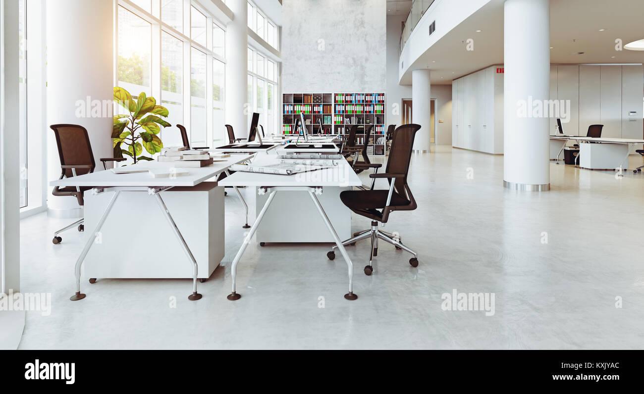 Immeuble de bureaux modernes de l intérieur concept de rendu d