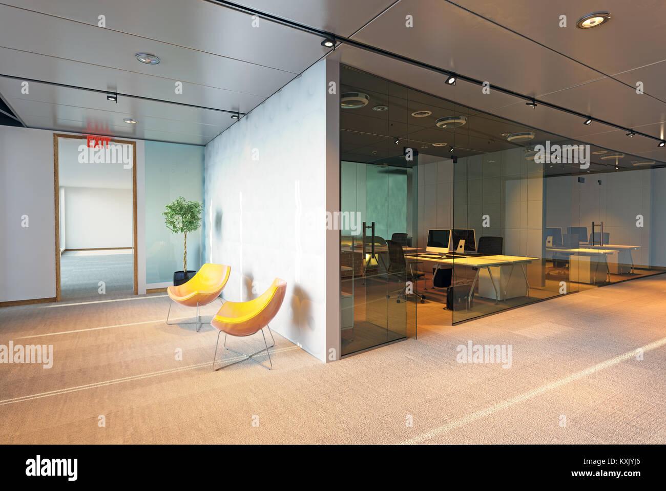 Immeuble de bureaux modernes de l'intérieur. Concept de rendu 3D Photo Stock