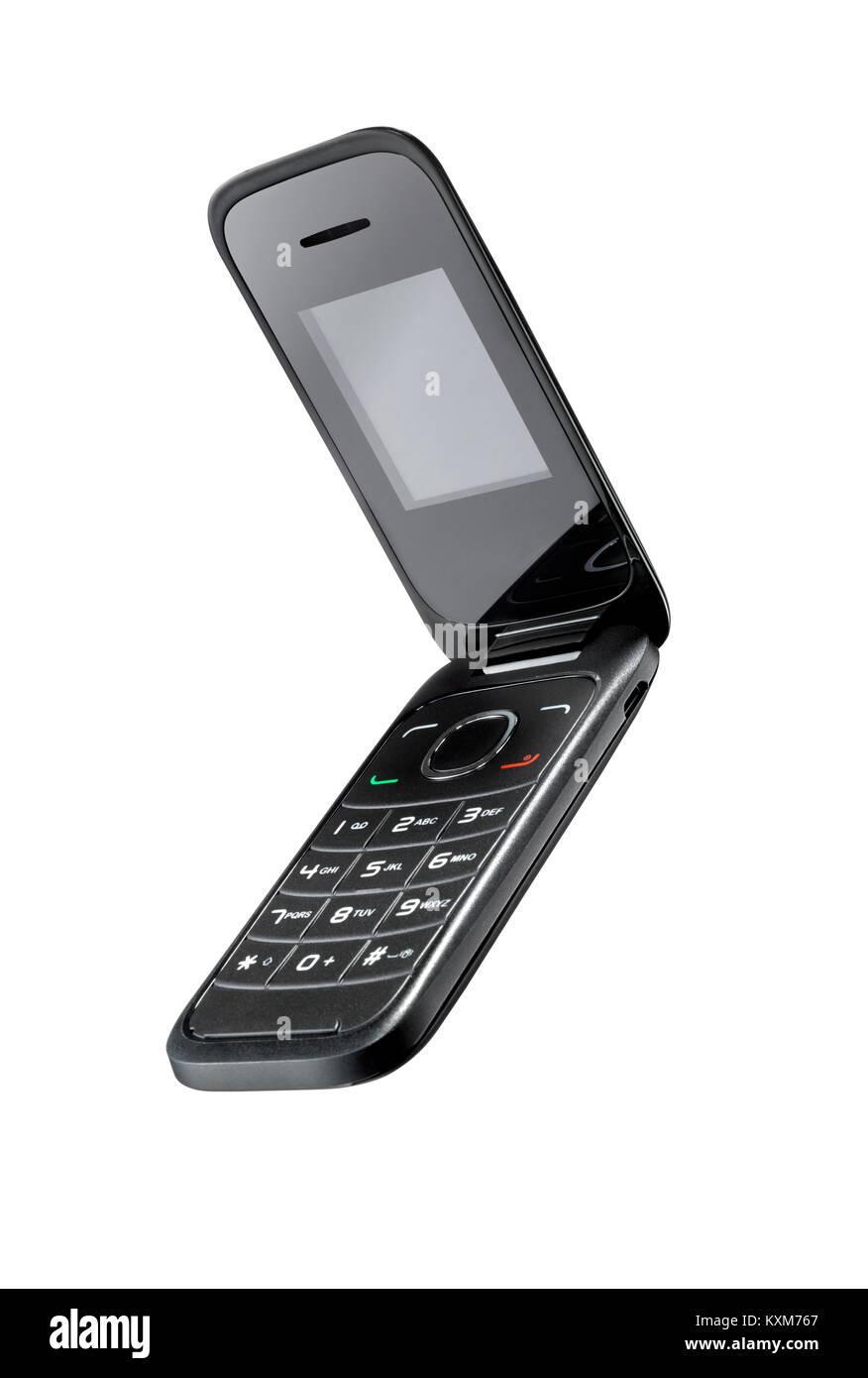 Découper un shot d'un style flip téléphone. Photo Stock