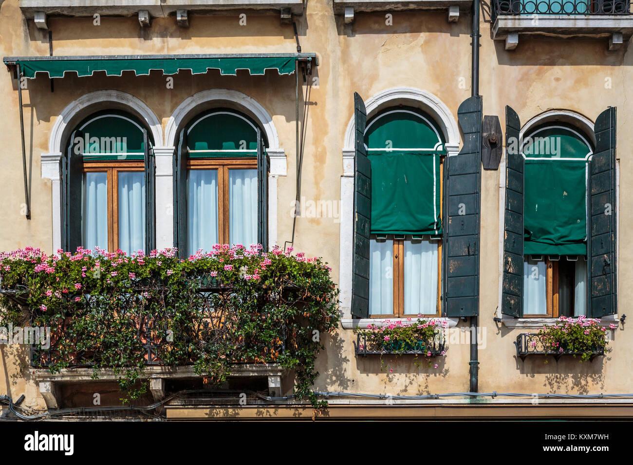 Les jardinières et fleurs en Vénétie, Venise, Italie, Europe. Photo Stock