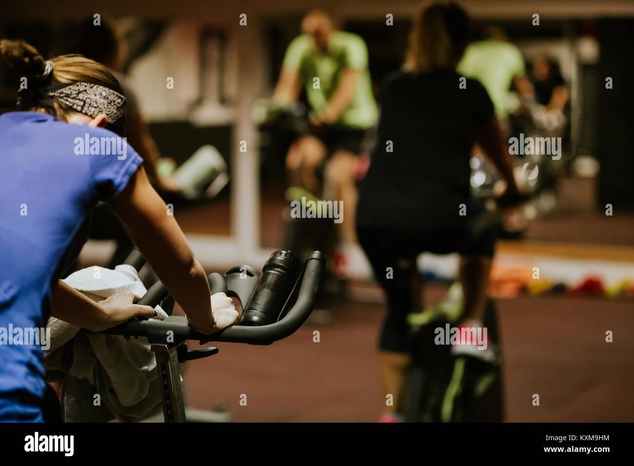 Classe de spin à l'intérieur du groupe de weightloss. Photo Stock