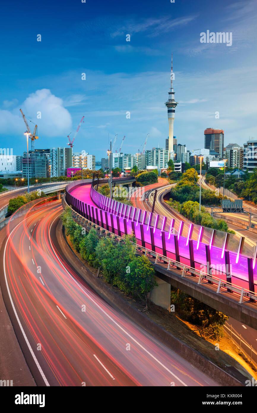 Auckland. Image de ville Auckland skyline, Nouvelle-Zélande, à l'aube. Banque D'Images
