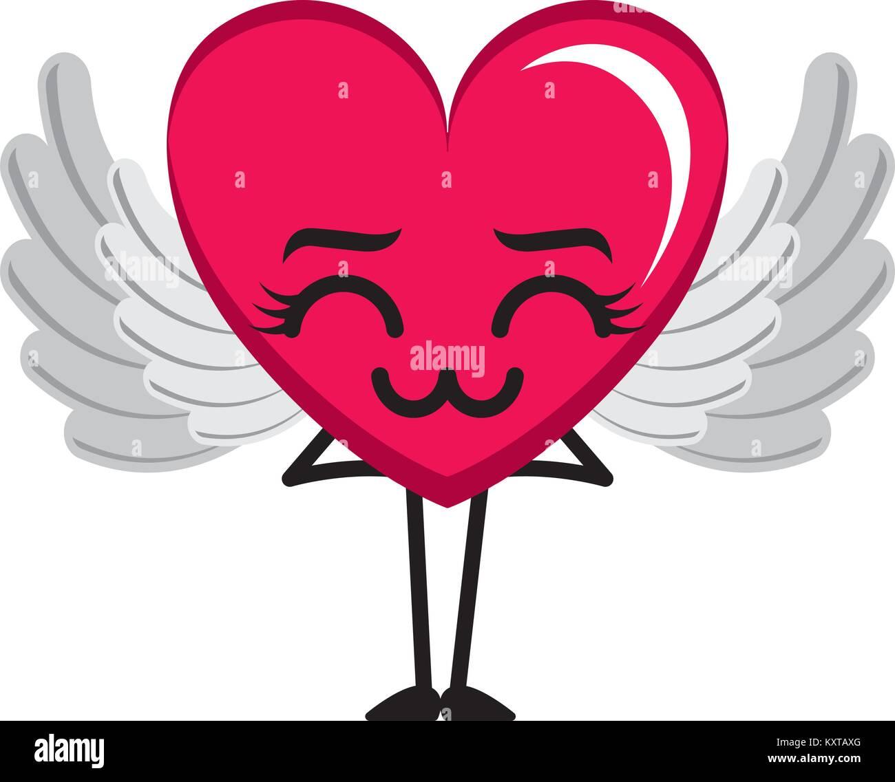 Coeur Avec Des Ailes D Amour Triste Personnage Kawaii