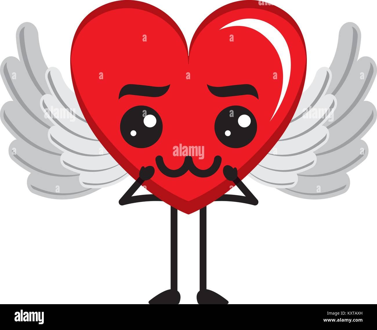 Coeur Avec Des Ailes Damour Triste Personnage Kawaii