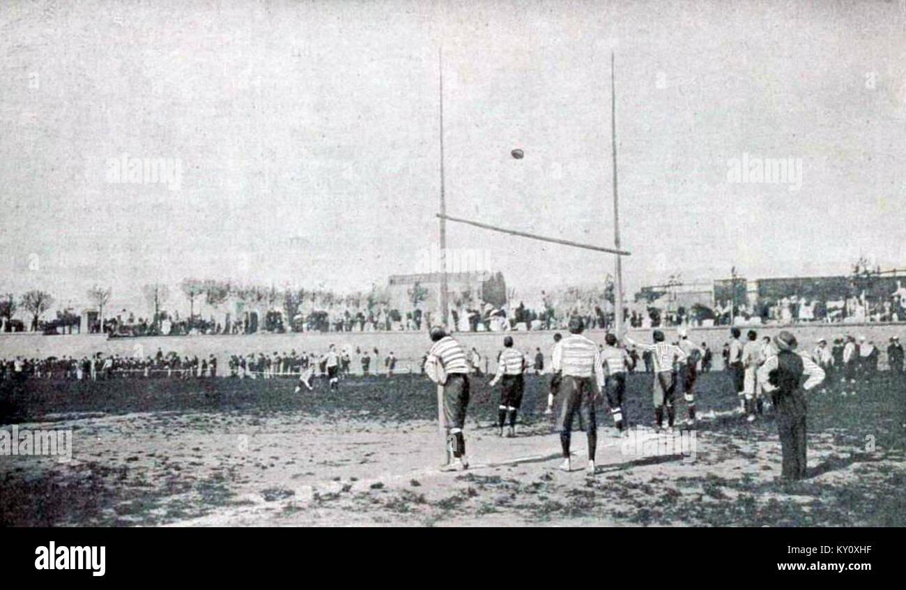 Finale du championnat de France de rugby 1900, Bordeaux échoue pour convertir son essai unique, face au CCR Photo Stock