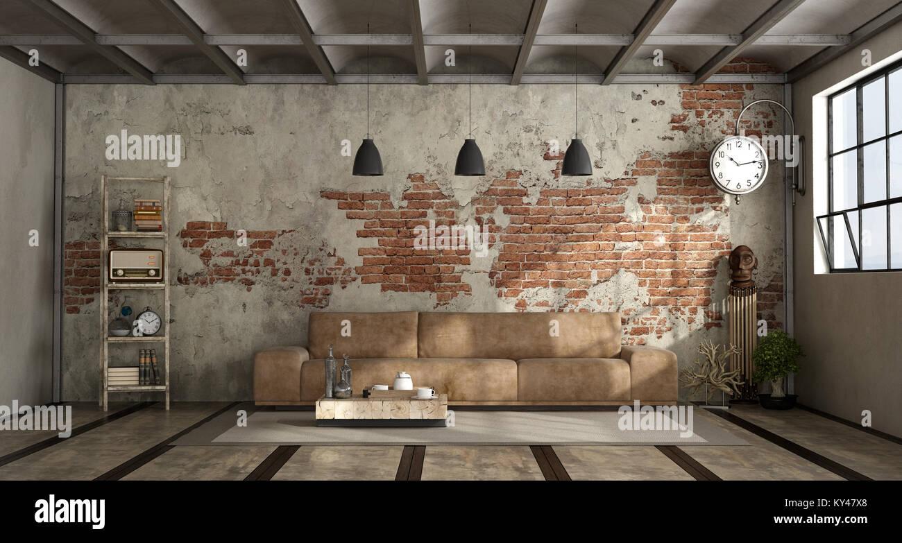 salon de style industriel avec canapé en cuir et mur - le rendu 3d